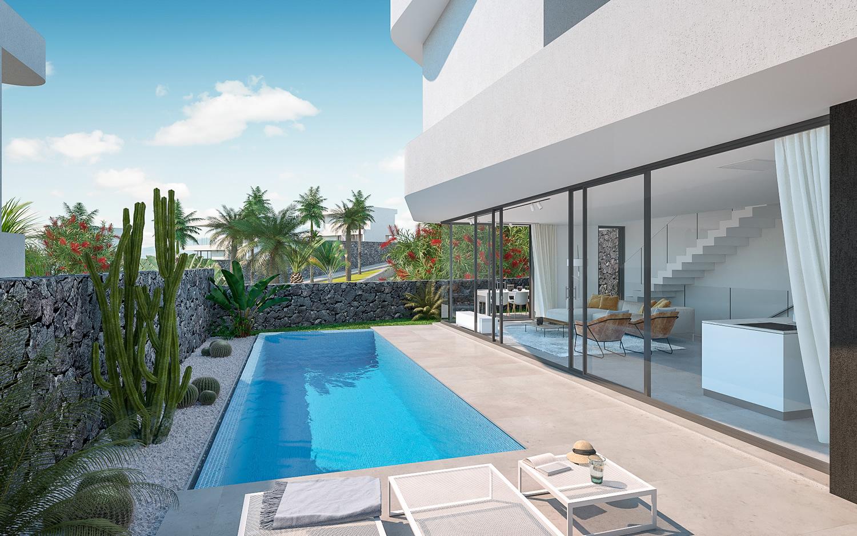 exterior view luxury villa with pool