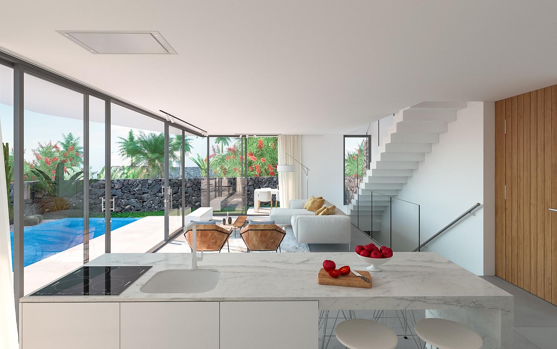 Salón de una villa de lujo ubicada en Tenerife