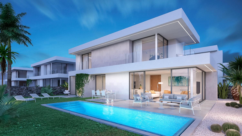 Außenansicht Luxusvilla mit Pool auf den Kanarischen Inseln