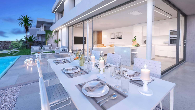 Vista cocina villa de lujo con piscina en Tenerife