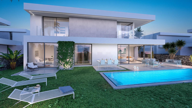Vista exterior villa de lujo con piscina en las islas Canarias